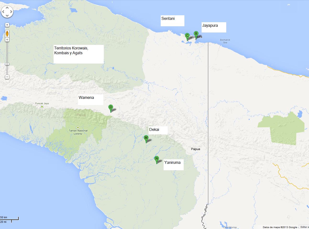 territorios Korowais, Kombais y Agats