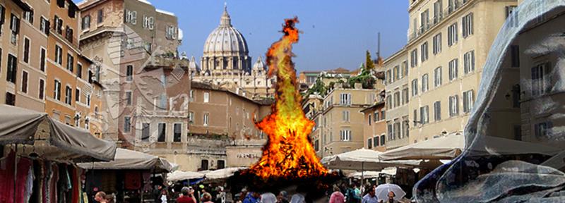 Giordano Bruno, quemado vivo en Campo de' Fiori, Roma, el 17 febrero 1600